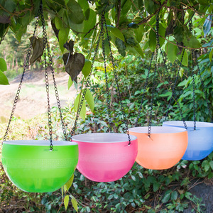 Image 4 - Rattan Round Hanging Basket Self Watering Flowerpot Plastic Resin Plant Holder Container Succulent Plants Home Garden Decoration