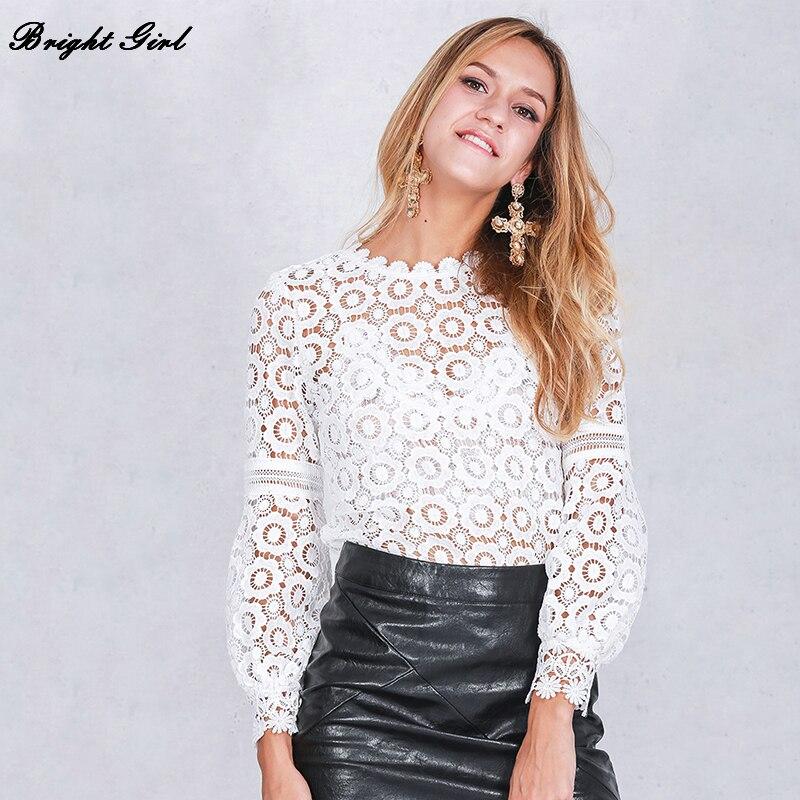 BRIGHT GIRL Long Sleeve Tops Womens Clothing Casual Tee Shirts chiffon blouse shirt Hollow Out Open
