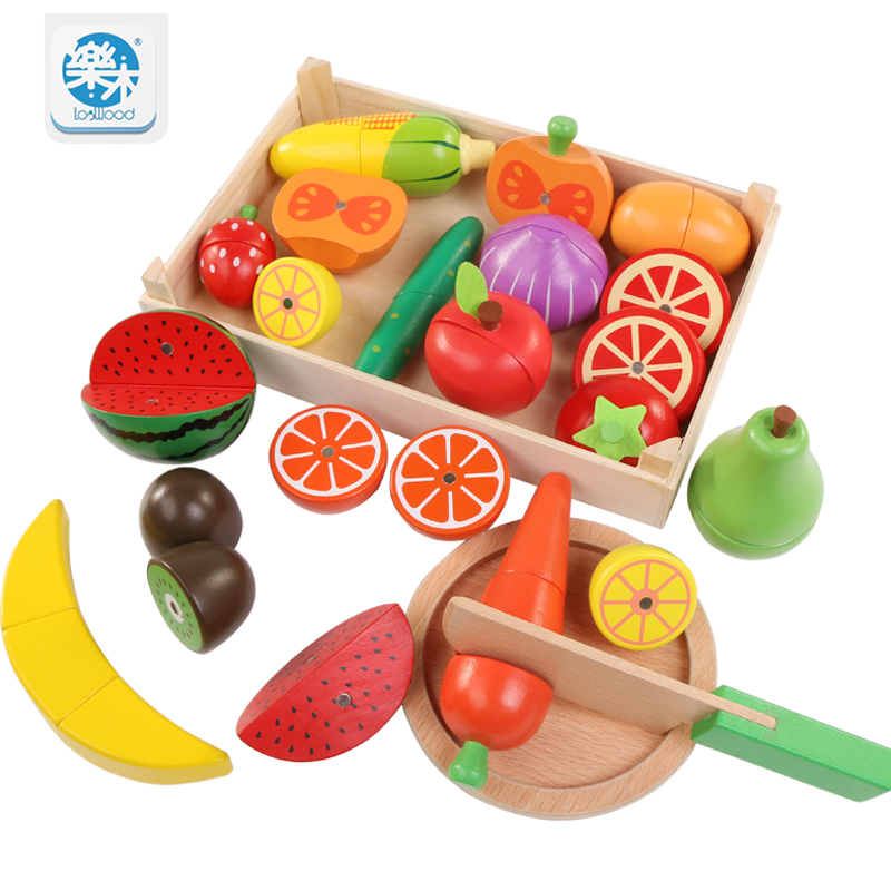 Wooden Baby Toy Cutting Fruit Vegetable Play Miniature Food Kids Wooden Baby Early Education Real Life Cosplay Kitchen Food Toys