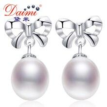 Daimi Perla Cultivada Pendientes, 100% A Estrenar Genuino Joyería de Perlas 9 MM Naturales de La Perla Del Bowknot Pendientes