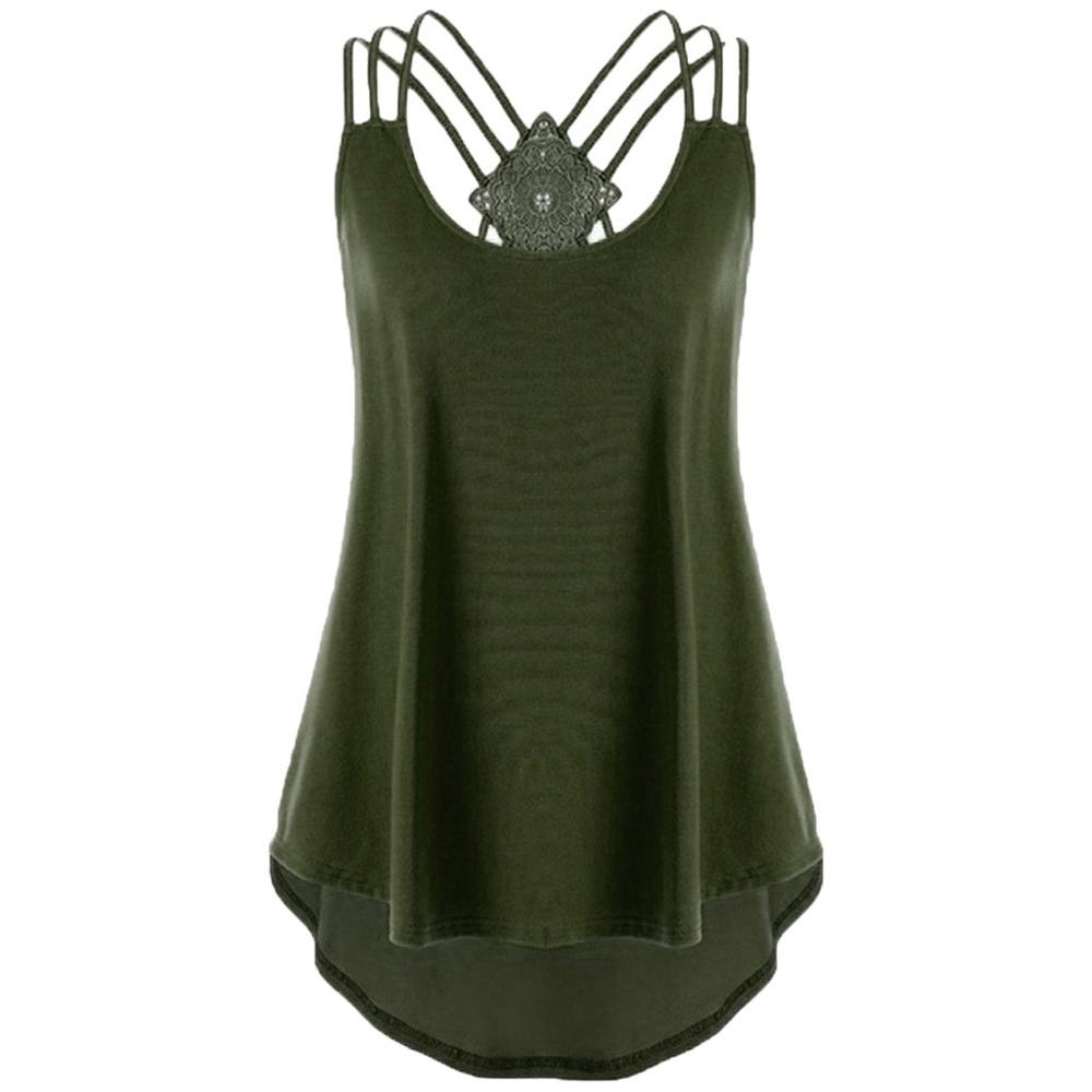 Plus Size Ladies 39 Bandages Sleeveless Vest Top High Low Tank Top Notes Strappy Tank Tops in Blouses amp Shirts from Women 39 s Clothing