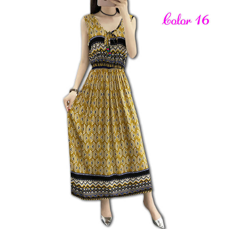 6e13bcc5adf2d Vintage Women Summer Bohemian Dress Beach Boho Elegant Printed Dresses 2018  New Fashion Flower Loose Plus Size Sleeveless Dress