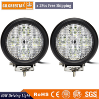 40W 5 inch Round LED Work Lights Car ATV 4WD Wagon Pickup Bus SUV 4x4 Motorcycle Boat Camper AWD 12V Truck Driving lights x2pcs