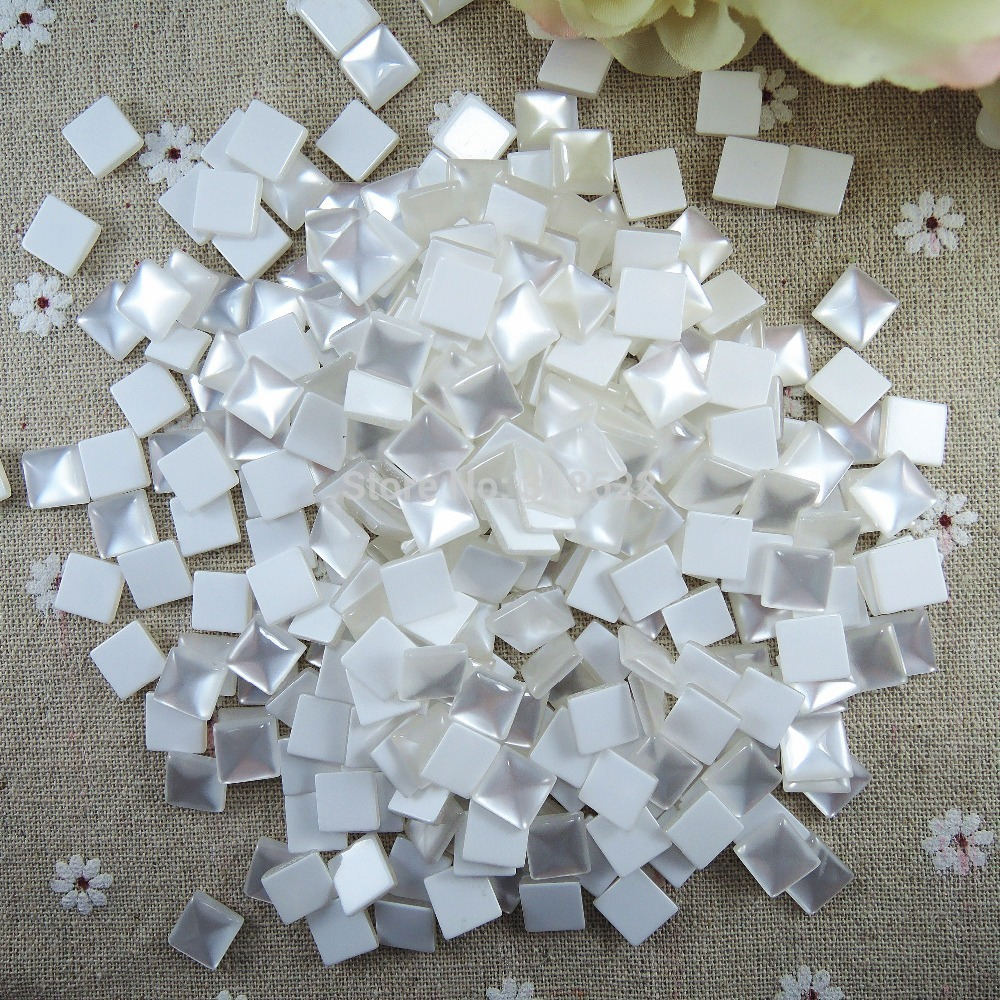 Flat glass marbles crafts - Free Shipping 10mm White Marbling Squre Shape Half Flat Back Acrylic Resin Beads Diy Jewelry