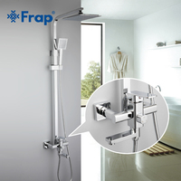 Frap 1 Set Bathroom Rainfall Shower Faucet Set Single Handle Mixer Tap With Hand Sprayer Wall