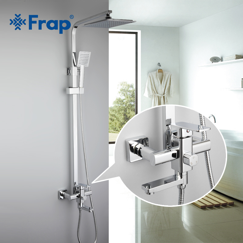 Frap 1 Set Bathroom Rainfall Shower Faucet Set Single Handle Mixer Tap With Hand Sprayer Wall Mounted Bath Shower Sets F2420 chrome polished rainfall solid brass shower bath thermostatic shower faucet set mixer tap with double hand sprayer wall mounted