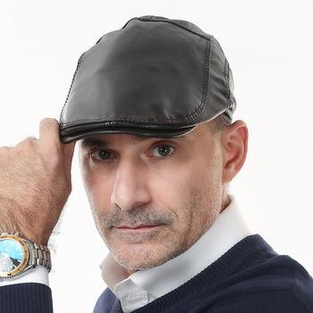 Men's Leather Peak Cap Genuine Leather