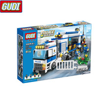 GUDI 407Pcs Urban City Mobile Police Station Commandos Figures Building Blocks Toys Compatible With City 9316 Kids Legoings Gift