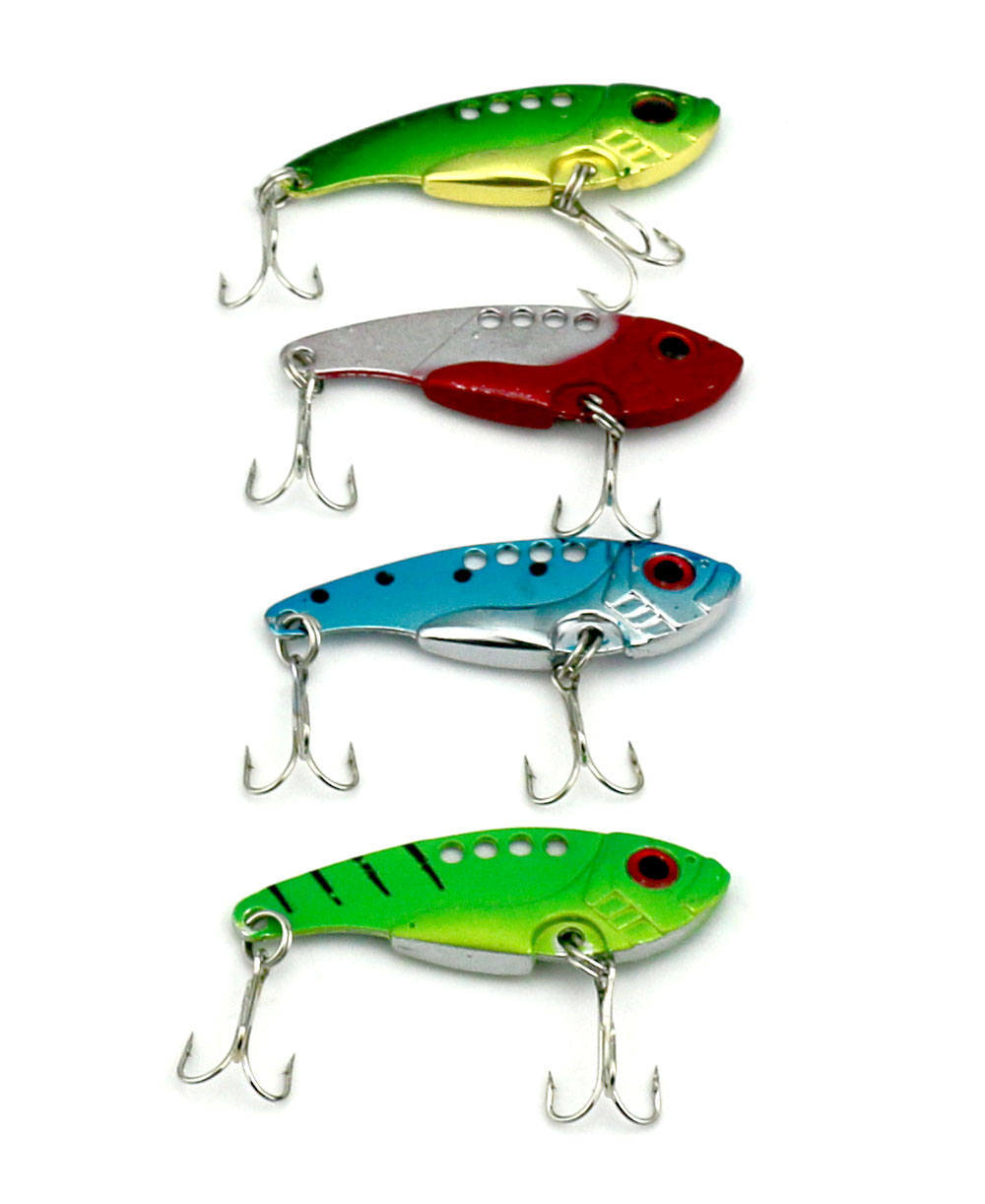 1PCS HENGJIA 5.5CM-11G Metal baits Fishing Lure VIB Bait pike pesca Fishing Tackle Multi Color Painted with Feather Barbed Hook fishing baits with hook color assorted 5 pack