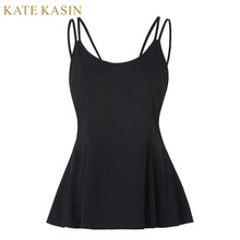 Kate Kasin Tops Women Strap Sexy Tops Black Open Back Tank Cotton Basic Backless Spaghetti Strap Sleeveless Cami Top Camisole