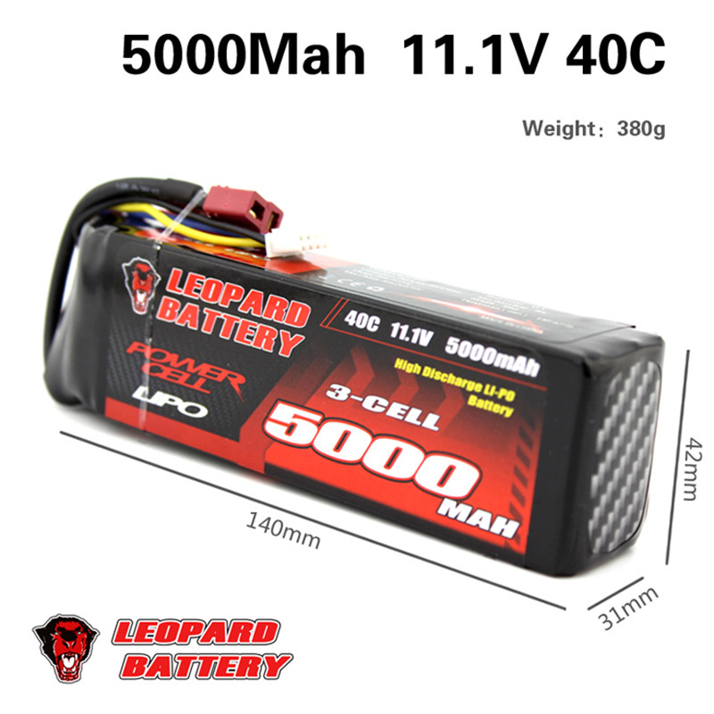 Леопардовый Мощность 11.1 В 5000 мАч 40C 3 S T штекер Перезаряжаемые lipo Батарея для 1:8 1:10 RC автомобиль