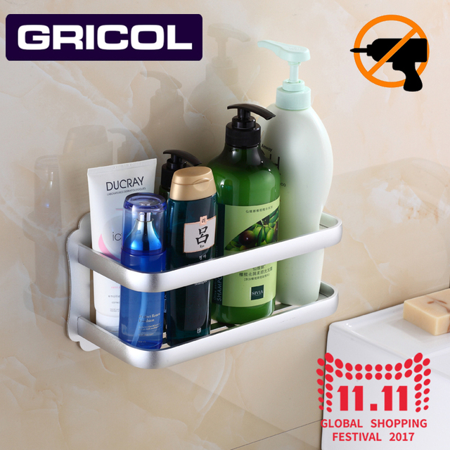 Gricol Bathroom Storage Holder Wall Hanger Toilet Ful Suction Shelf Nail Free E Aluminum