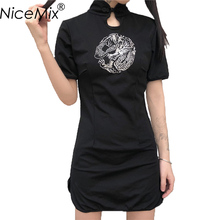 NiceMix 2019 Summer Harajuku Dress Women Cheongsam Dresses Dragon Embroidery Female Vintage Black Vestidos