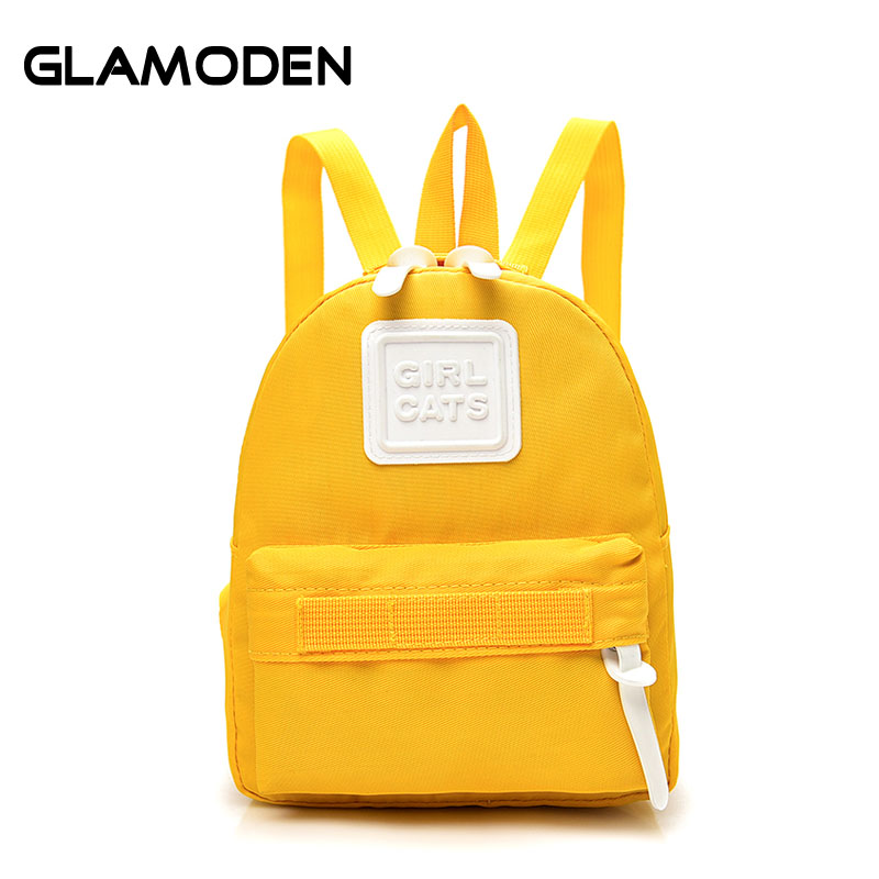 2017 New Women Backpack School Bag Children Mini Travel Bag Simple Yellow Fashion Back Bag for Female Teenage Students Girls