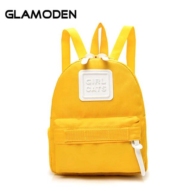 afec0596254 2017 New Women Backpack School Bag Children Mini Travel Bag Simple Yellow  Fashion Back Bag for