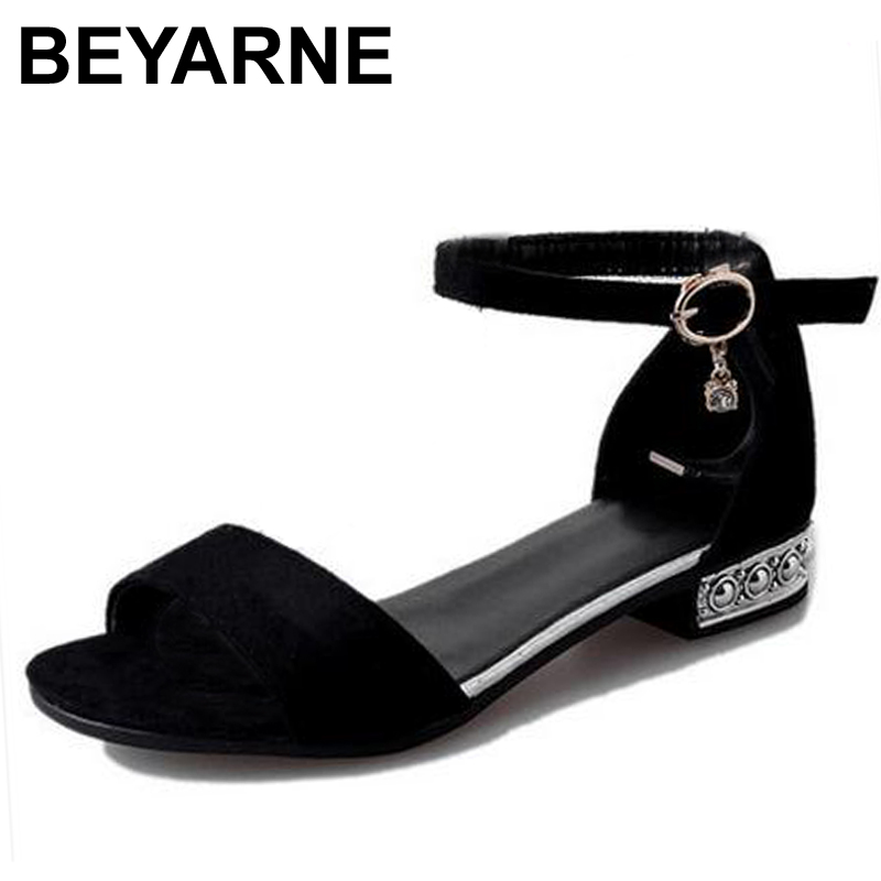 BEYARNE Hot Sale 2017 summer PU Leather Women Flats Sandals Plus Size 35-40 New Fashion Casual Solid Buckle Strap Shoes Woman 2017 new arrival hot sale fashion summer sweet women flats heel sandals pu leather casual buckle strap shoes for women 13 30