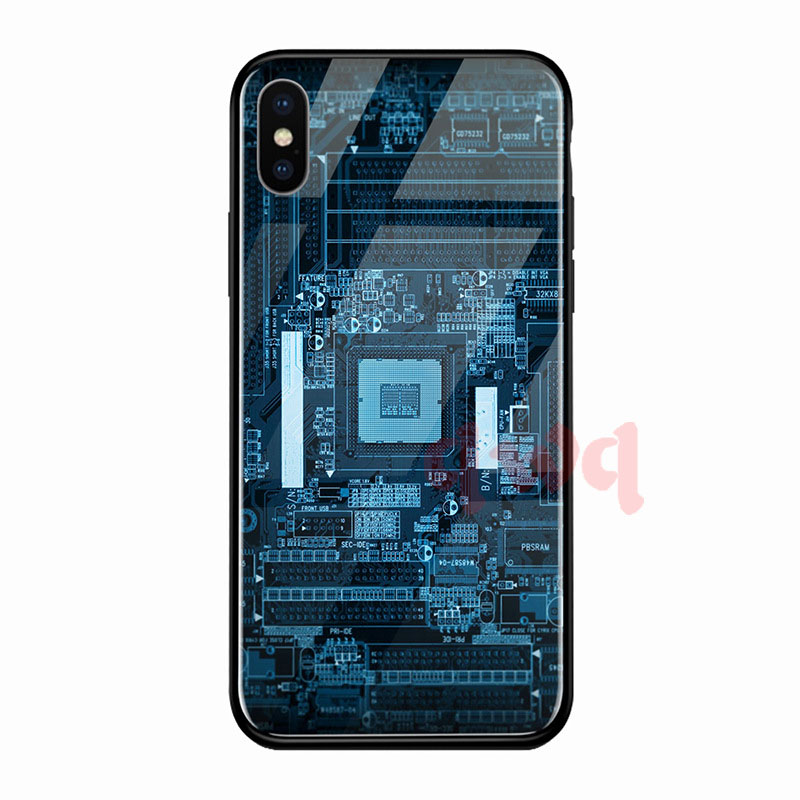 Circuit Board Tempered Glass Hard Back Phone Cases For Iphone 6 6S 7 8 Plus Full Cover For iphone X XR Xs Max TPU Soft Edge Case-D