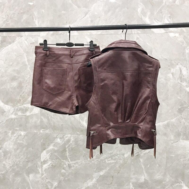 Vin Hs56 Cuir 2019 Costume pièce Deux Réel Femelle Rouge Gilet Shorts Veste Sac En Nouveau Femmes 1803 Kelly wwpSz1qa