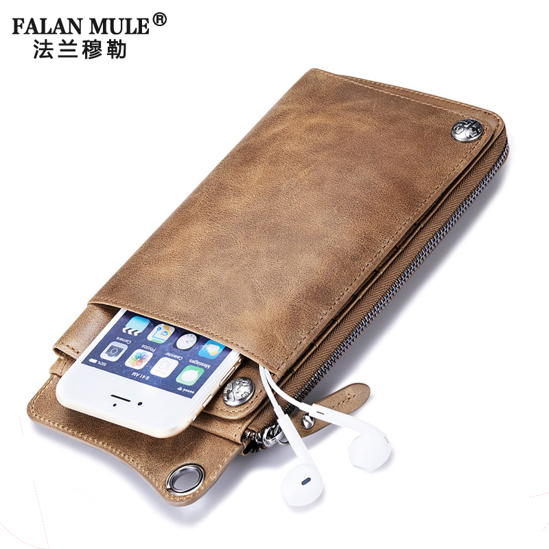 FALAN MULE Fashion Vintage Men Wallets Genuine Leather Long Clutch Purse Brand Wallet 406