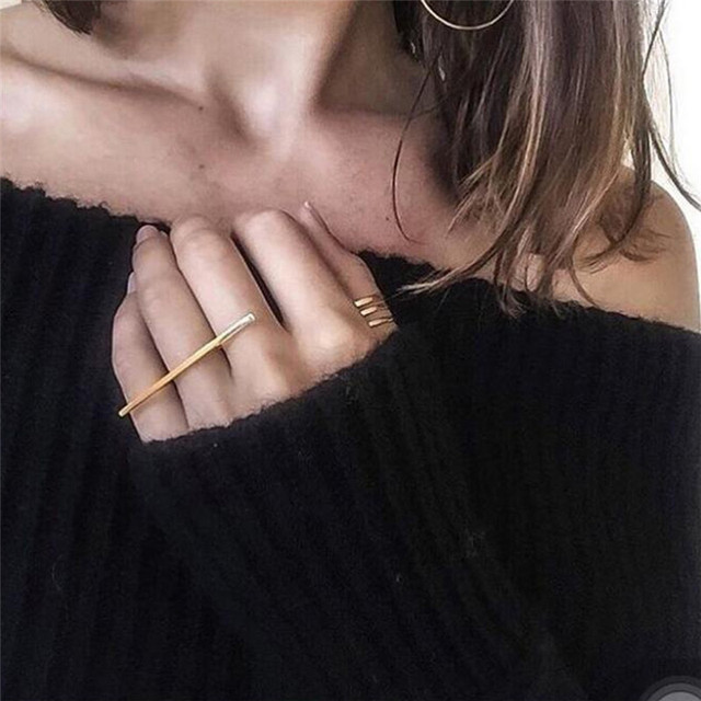 1pc Punk Long Bar Golden Metal Ring For Women Charms Modern Fashion Jewelry Simp