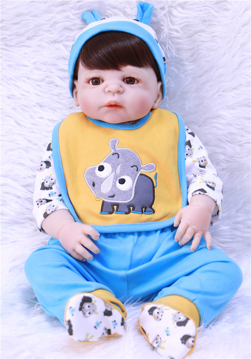 doll bebe reborn boy 55cm  Full Silicone Body Reborn Baby Dolls  Newborn Babies boneca Fashion Birthday Gift Kids Toys languages for america