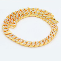 Men's Round Miami Cuban Link Chain Necklace in Gold Silver Tone Hiphop Boy Male Jewelry with 18 Inch