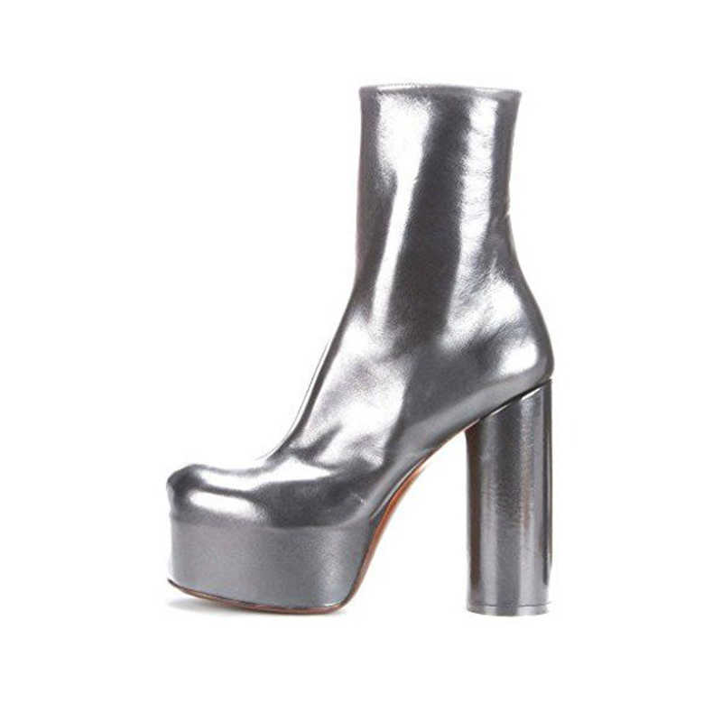 e8a8c99bf ... Woman Ankle Boots Shoes Silver Platform Boots Fashion Block Heel Ankle  Boots Patent Leather Party Plus ...