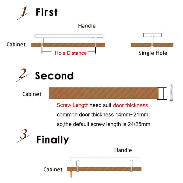Probrico 30PCS Cabinet T Bar Handle Diameter 12mm CC 50mm~320mm Stainless Steel Furniture Drawer Knob Kitchen Cupboard Door Pull