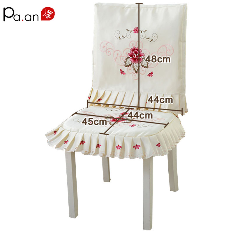 New Lace Embroidered Floral Chair Cushion Covers Set Dust Proof Cover for Chair Home Party Wedding  Decoration High Quality