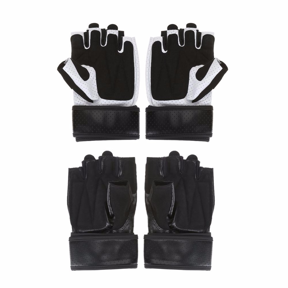 Weight Lifting Gloves Leather Fitness Gym Training Workout: 1Pair Men Black PU Half Finger Leather Weight Lifting Gym