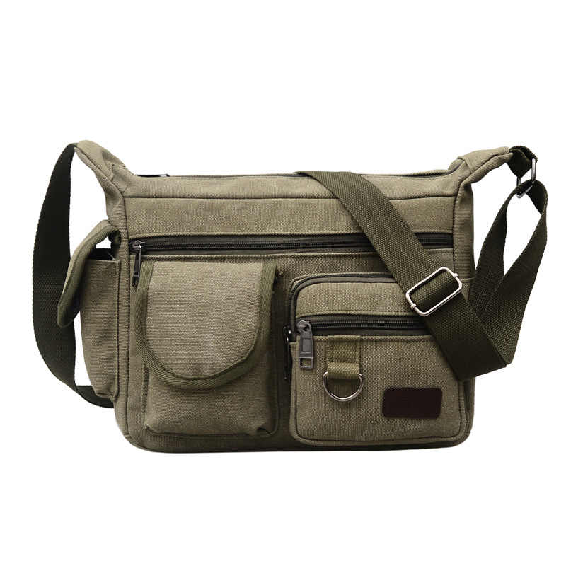 a2c72e83d0 ... Fashion Winter New Men s Canvas Single Shoulder Slant Message Bag Large  Capacity Business Leisure Outdoor Message ...