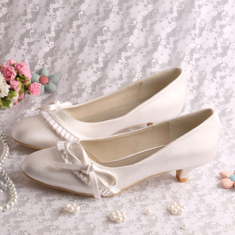 (20 Colors)Custom Handmade Ivory Satin Shoes Wedding for Ladies Low Heel Pumps