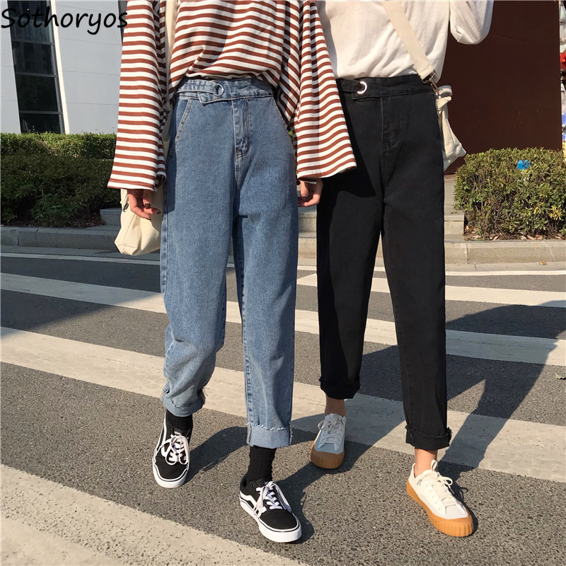 Jeans Women Unisex Couple Trousers Large Size Loose Zipper Fly Lace Up High Waist Simple Denim Womens Jean Ankle-length Chic