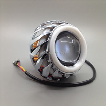 Universal Double Angel Eye Motorcycle Headlight LED Projector 12-80V High/Low Beam Scooter Car Demon Fog Light Front Headlamp(China (Mainland))