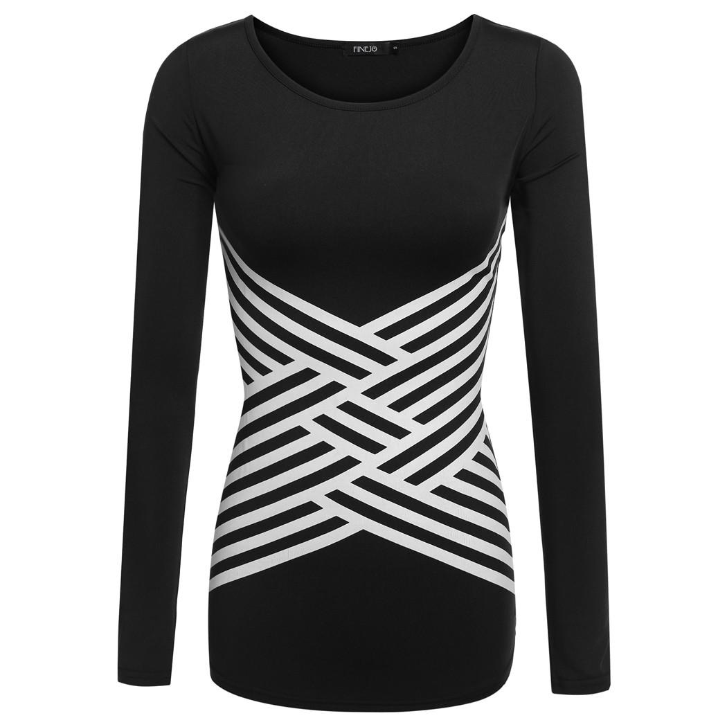 Black and white striped t shirt xxl - Brand Women Fashion Cross Stripe Printed Stretch Round Neck Long Sleeve T Shirt Top White Black