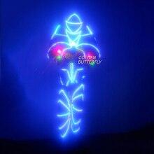 LED Clothing Luminous Suits Glowing Robot Talent Show LED Robot Costumes Stilts Helmets Men Luminous LED Clothes Free Shipping