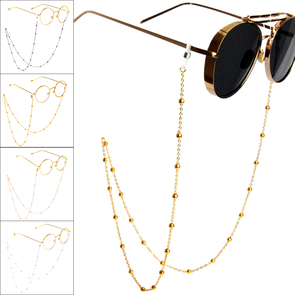 70cm Elegant Eyeglass Chain Sunglasses Reading Beaded Glasses Eyewear Rope Lanyards Rose Gold Silver Glass Cord Neck Strap