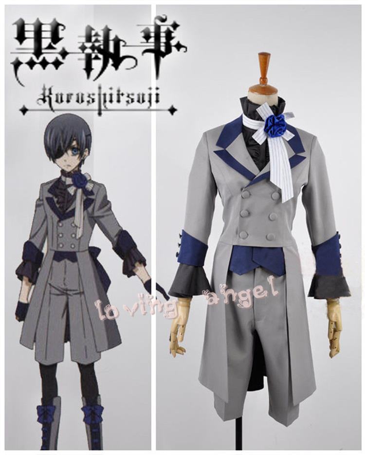 Anime negro mayordomo 3 Ciel phantomhive gris traje Cosplay traje de tamaño  personalizado d46069c7fdc8
