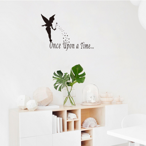 Wallpaper Mural Art Girl Wall Decal Wall Sticker Words Once Upon A Time Living Room Decor Kids Decals Black Angel Star Design-in Wall Stickers from Home ... & Wallpaper Mural Art Girl Wall Decal Wall Sticker Words Once Upon A ...