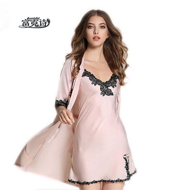 fc216eb6e7 Bridesmaid Robes Gown Sets Sexy Lace Robe Women s Sleepwear Sleep Suits  Pajama Sets Womens Nightwear Night Skirts Bathrobe