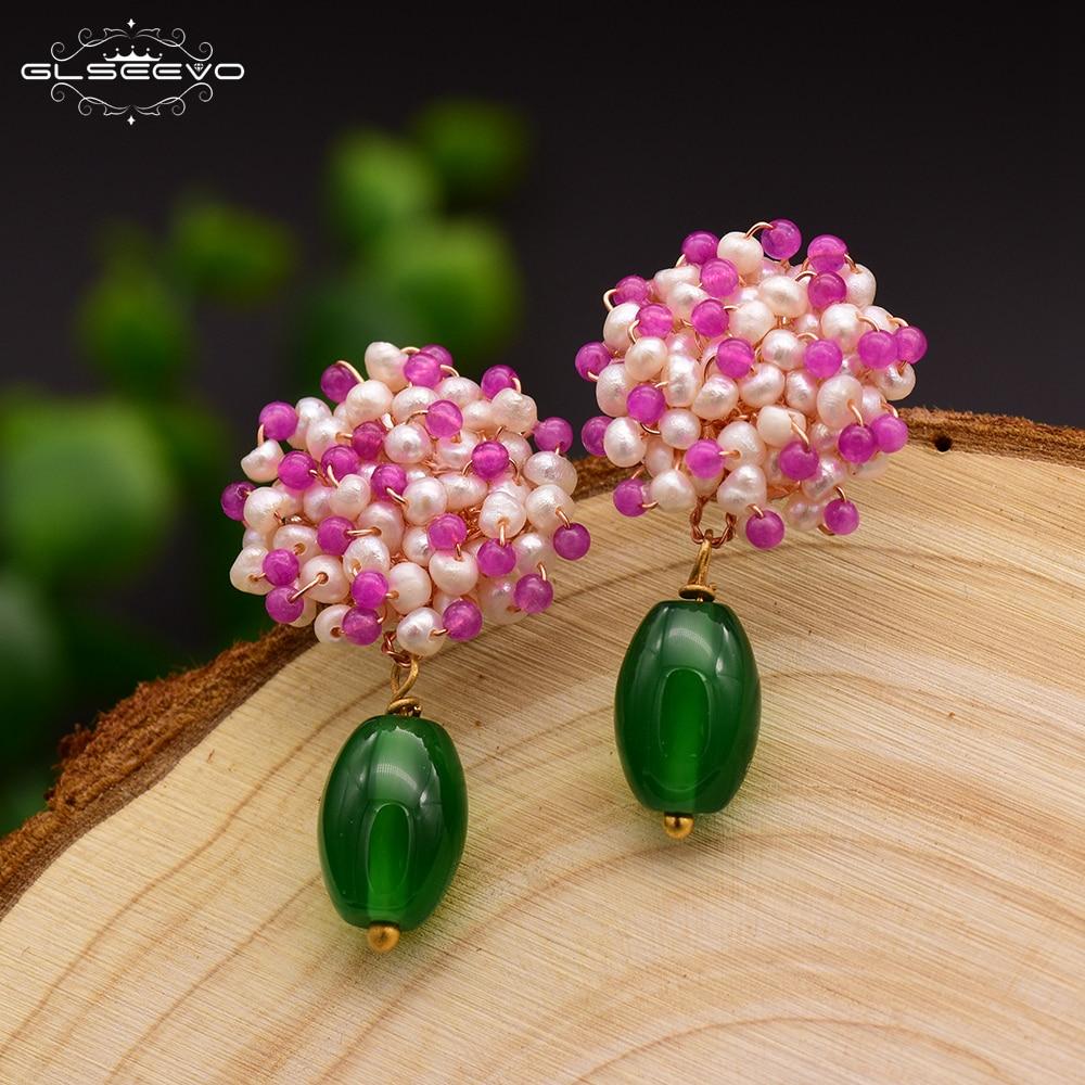 GLSEEVO Natural Green Agate Drop Earrings For Women White Pink Beads 925 Sterling Silver Flower Dangle Earrings Jewellery GE0416 цена