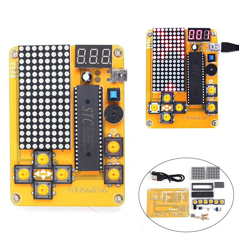 Electronic DIY Kit MCU Computer Game Machine DIY Snake Electronic for Tetris/Snake/Plane/RacingDot Matrix Game Kit Electronica