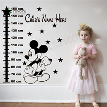 Mouse Cartoon Wall Sticker Vinyl Art Removeable Poster Design Height Wall Decor Personalized Name For Children Room Decals LX07 цены