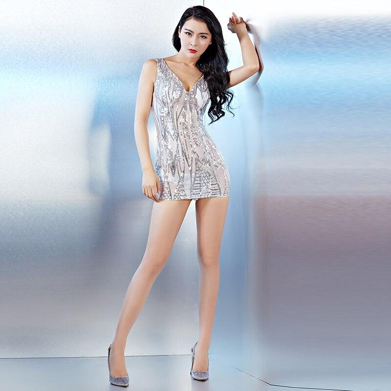 Fiesta en club nocturno Sexy ver a través de la sin respaldo de una sola pieza vestido de lentejuelas perspectiva paquete Hip vestidos Bar cantante baile traje - 3