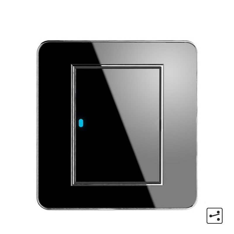New Arrival 1 Gang 2 Way Random Click Push Button Wall Light Switch With LED Indicator Acrylic Crystal Panel button wall light switch 2 gang double control swich acrylic luxury crystal 86 panel led indicator light wall button switch