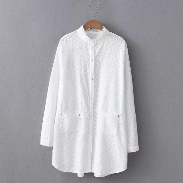 Women's Clothing Painstaking Long White Shirt 2018 Women Spring Autumn Japanese Style Long Sleeve Stand Collar White Embroidery Solid Blouse Blusa Top Af535 To Adopt Advanced Technology