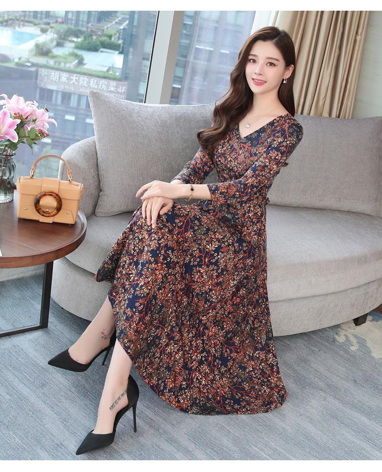 Autumn Winter New 3XL Plus Size Vintage Midi Dresses 2018 Women Elegant Bodycon Floral Dress Party Long Sleeve Runway Vestidos 40