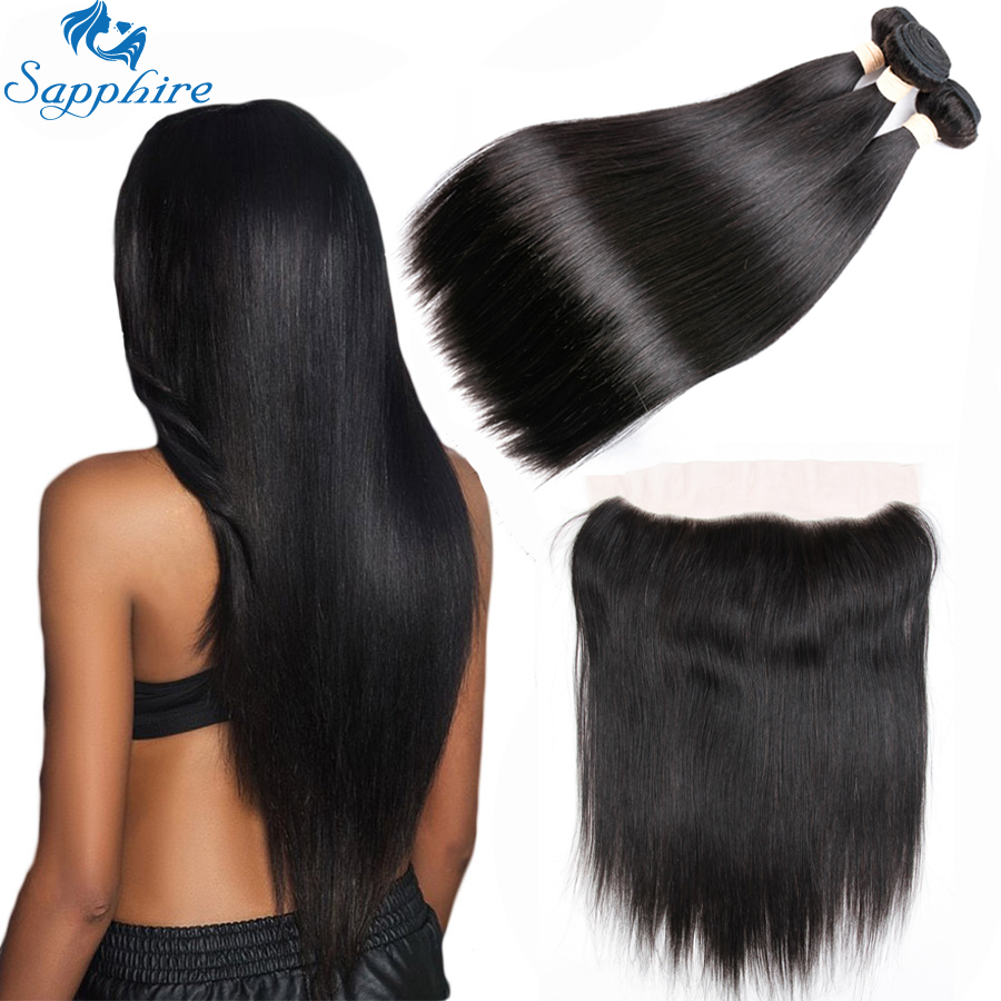 Sapphire Hair Extensions Brazilian Human Hair Weave 3 Bundles With Frontal Closure Straight Human Hair Bundles