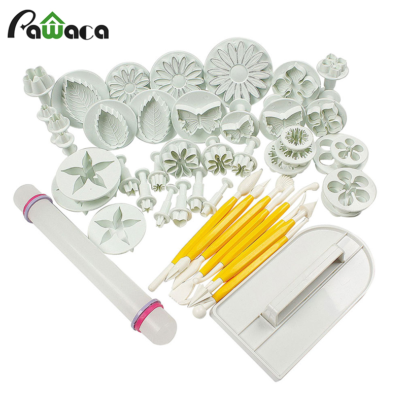 46Pcs/Set Forests world Sugar craft cake decorating tools set for wedding party silicone Flower Plunger Fondant Mold Cutter