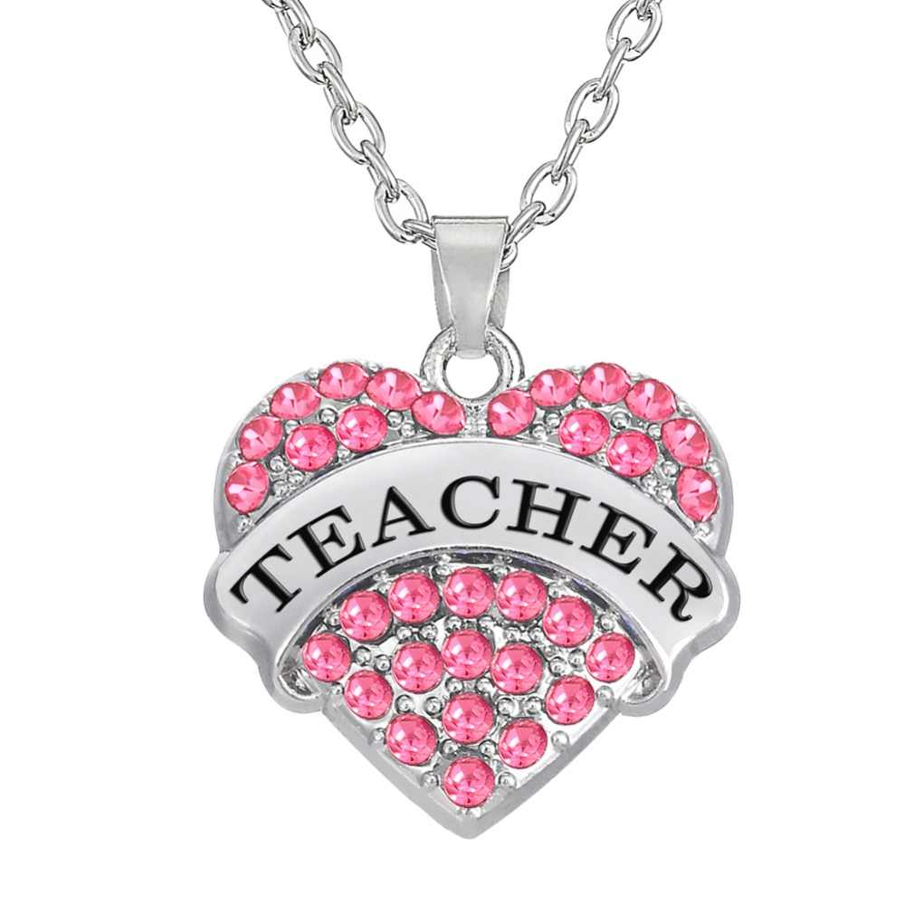 my shape Pink Crystal Heart Teacher Pendant Necklace Graduation Gift Jewelry or Teacher's Day Gifts for Women
